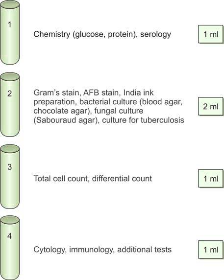 Figure 1182.4 Laboratory tests for evaluation of CSF in different tubes
