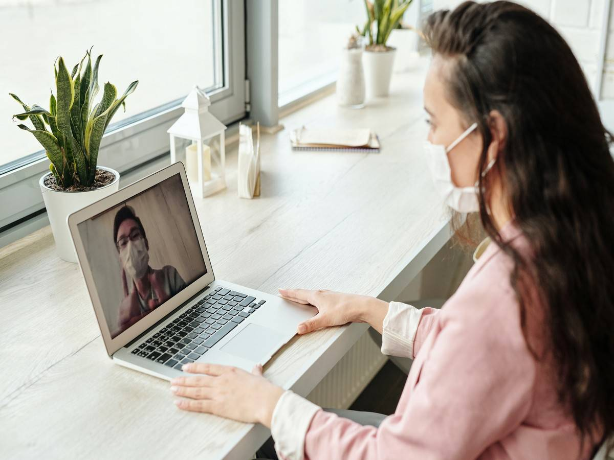 Woman participates in video chat.