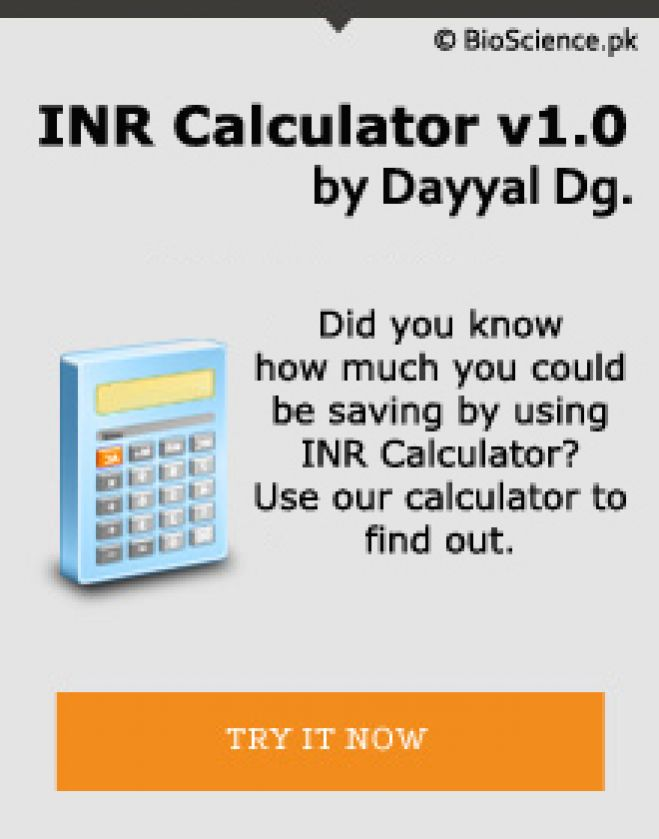 International Normalized Ratio (INR) Calculator v1.0 by Dayyal Dg.